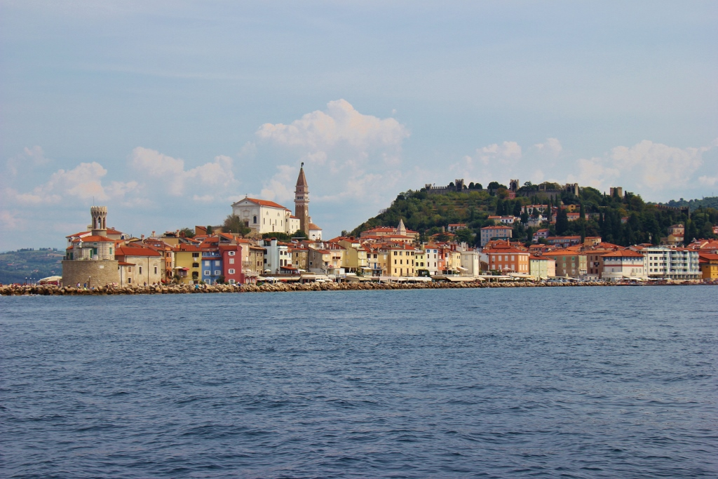 View of Piran, Slovenia peninsula from the Adriatic Sea