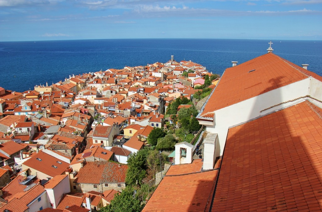 View of Piran to the Point from St. George's Bell Tower in Piran, Slovenia