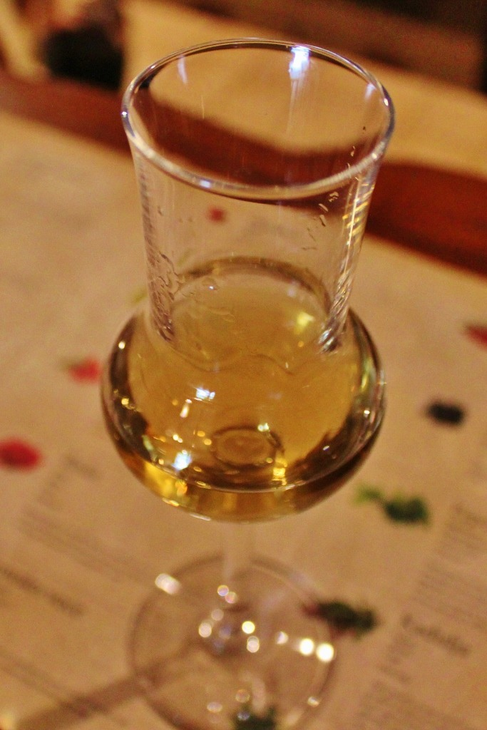 Glass of Brandy Rakija at Aura Distillery in Buzet, Istria, Croatia