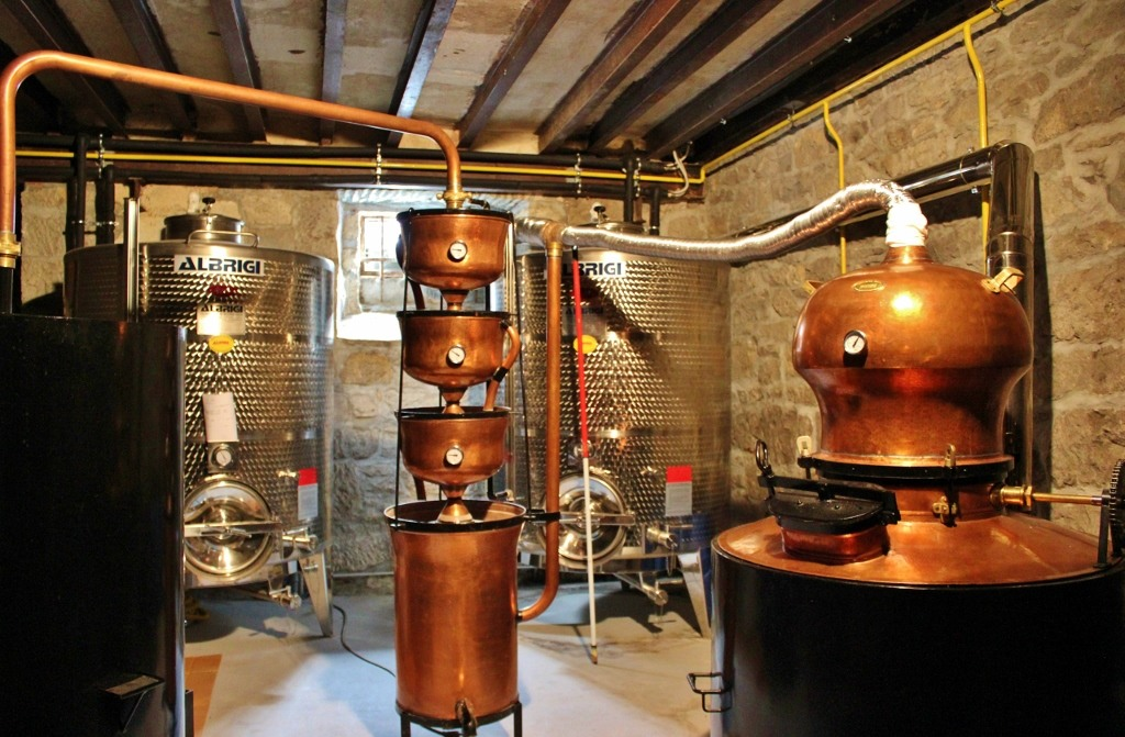 Copper distillery equipment at Aura Distillery in Buzet, Istria, Croatia