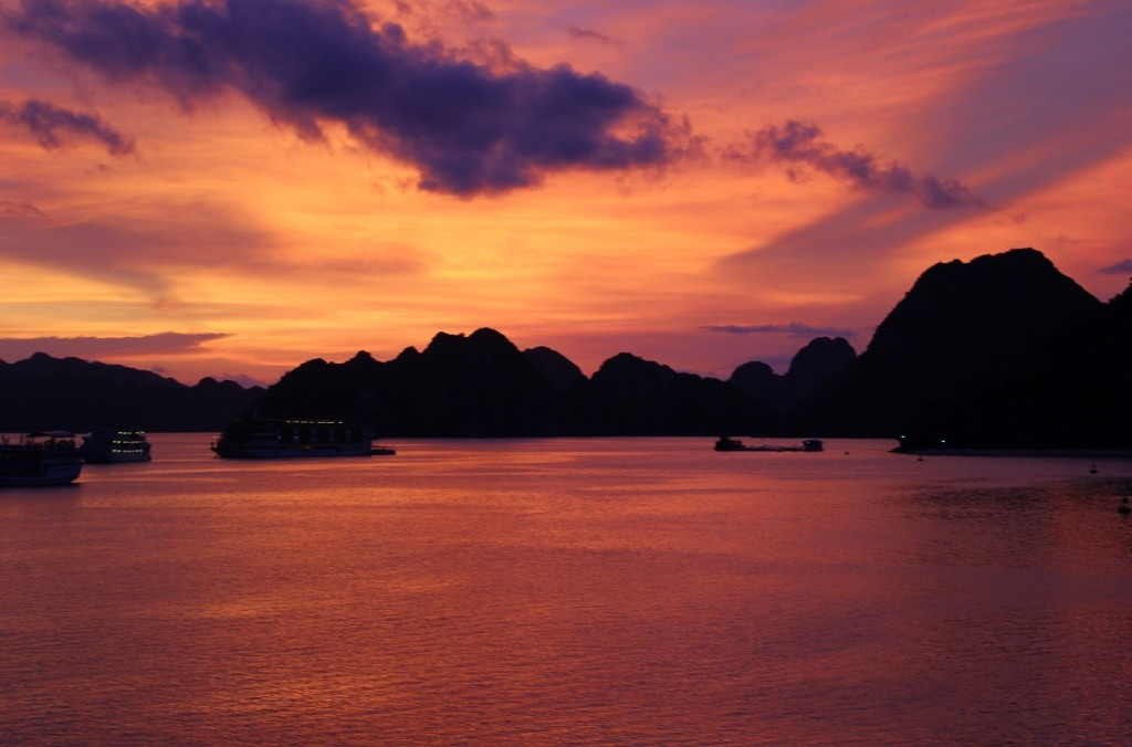 Red sunset on Halong Bay, Vietnam