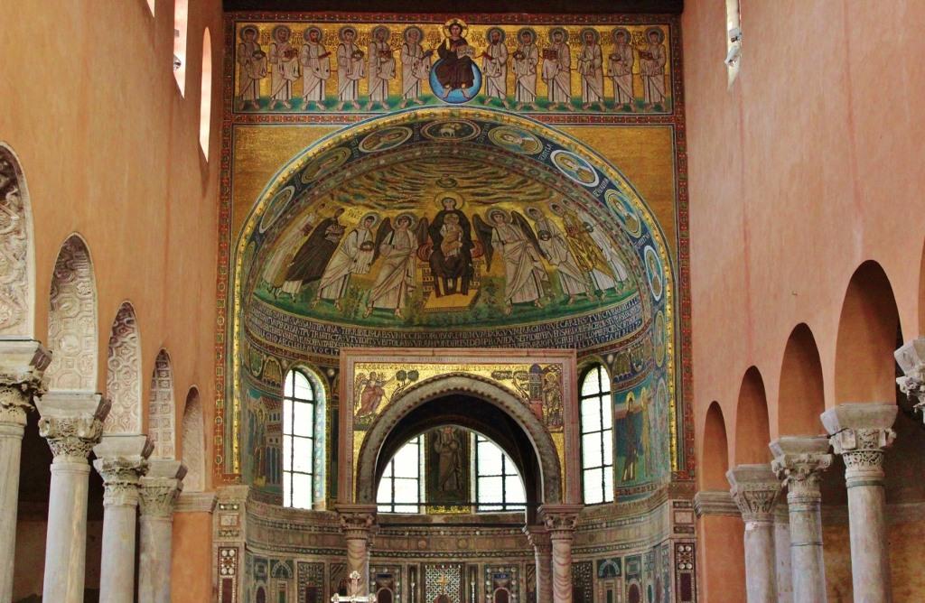 Tiled mosaics inside Euphrasian Basilica, Porec, Istria, Croatia