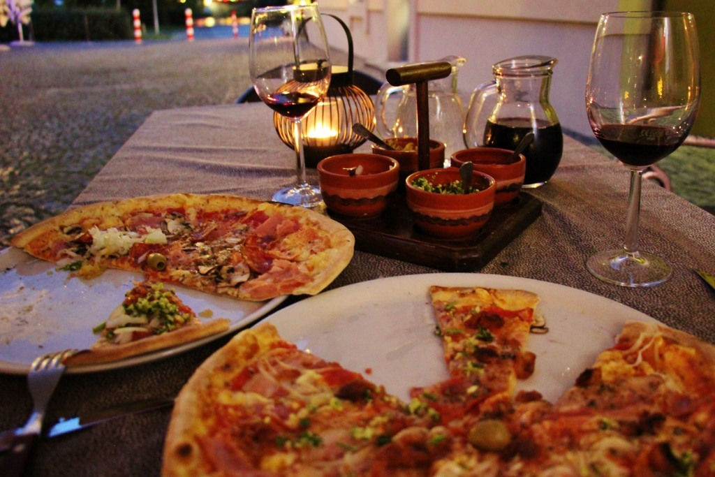 Wine and Pizza at Pizzeria Verdi in Lent District in Maribor, Slovenia