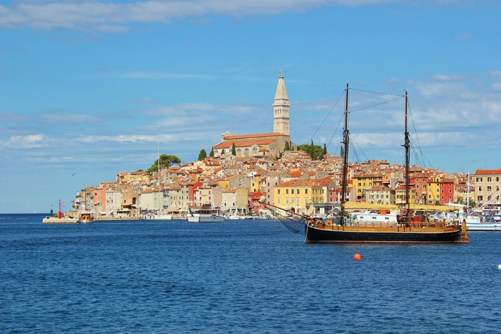 Ship sails past Rovinj, Istria, Croatia