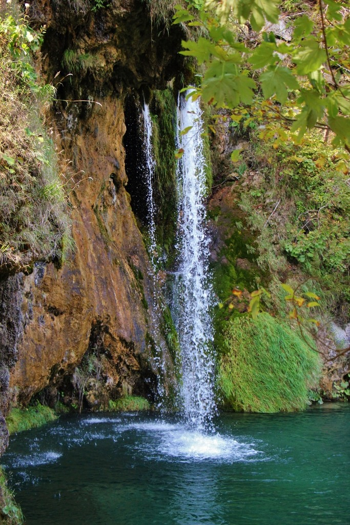 Streaming waterfall, Upper Lakes, Plitvice Lakes National Park, Croatia