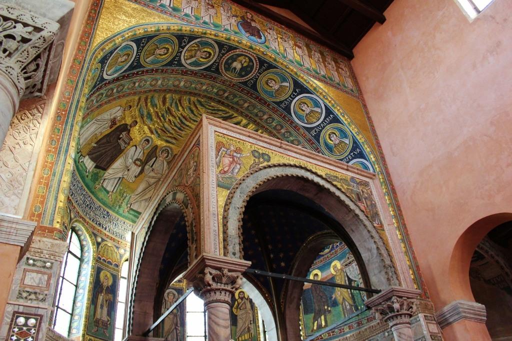 Glittering tiled mosaic altar at Euphrasian Basilica in Porec, Istria, Croatia