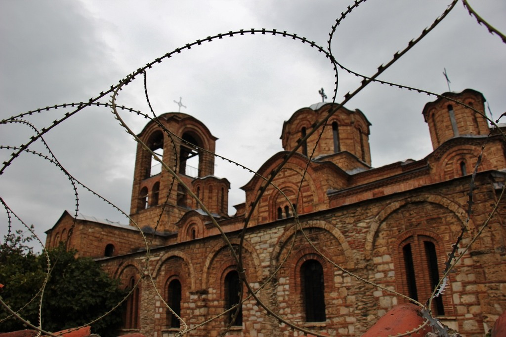 Our Lady of Ljevis guarded with barbed wire in Prizren, Kosovo