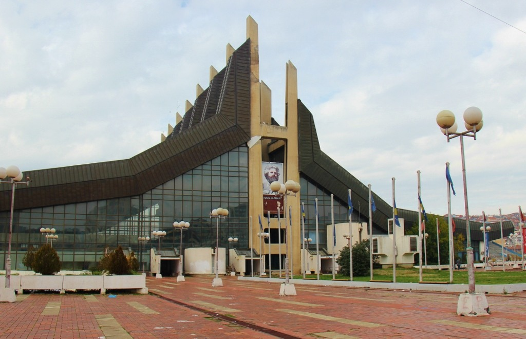 Communist-era Palace of Youth and Sports building in Prishtina, Kosovo