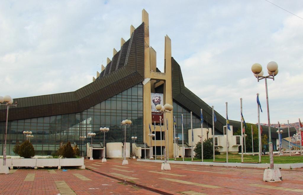 Communist-era Palace of Youth and Sports building in Prishtina, Kosovo