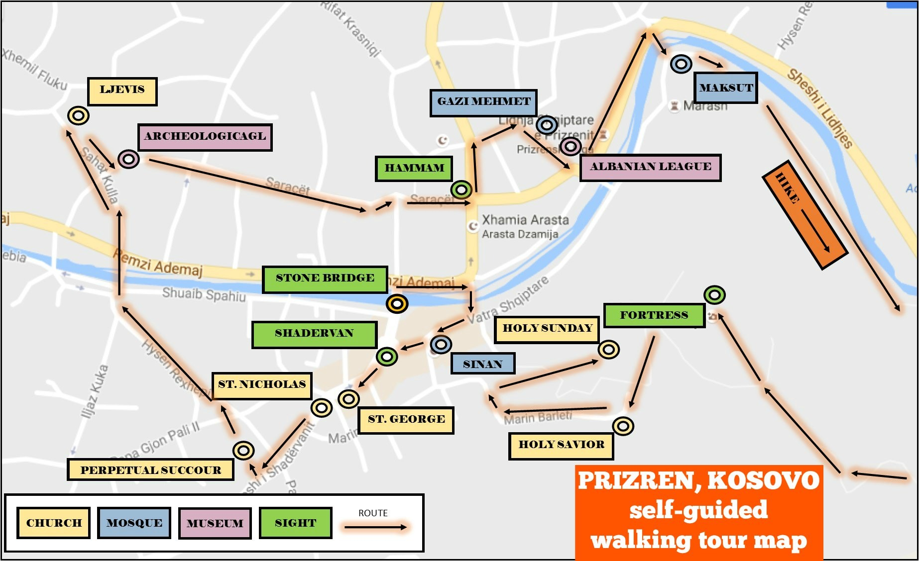 A guide to visiting prizren kosovo jetsetting fools prizren kosovo self guided walking tour map with sights and route publicscrutiny Choice Image
