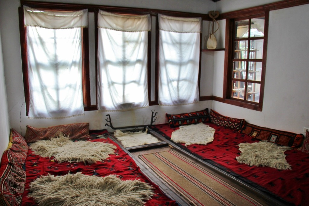 Sleeping room display at Ehtnological Museum Muzeu Etnologjik in Prishtina, Kosovo