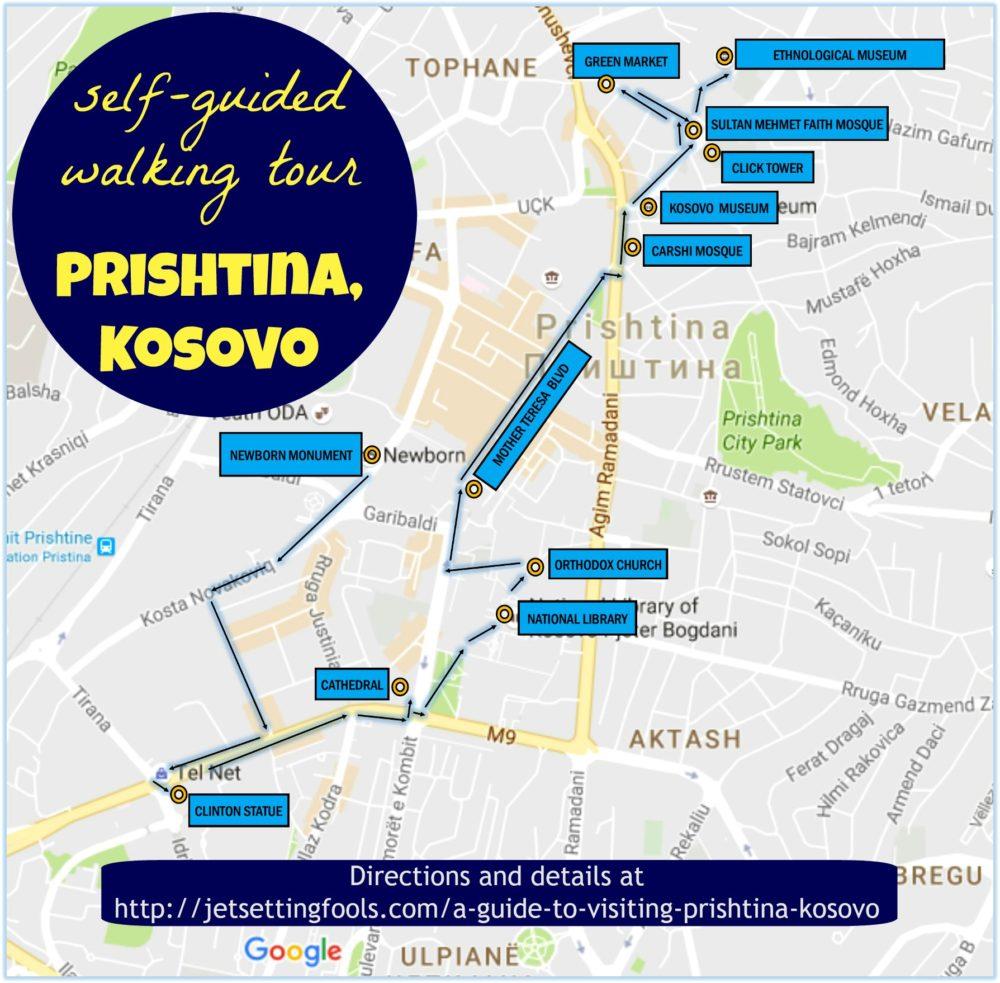 A guide to visiting prishtina kosovo jetsetting fools prishtina kosovo self guided walking tour map publicscrutiny Choice Image