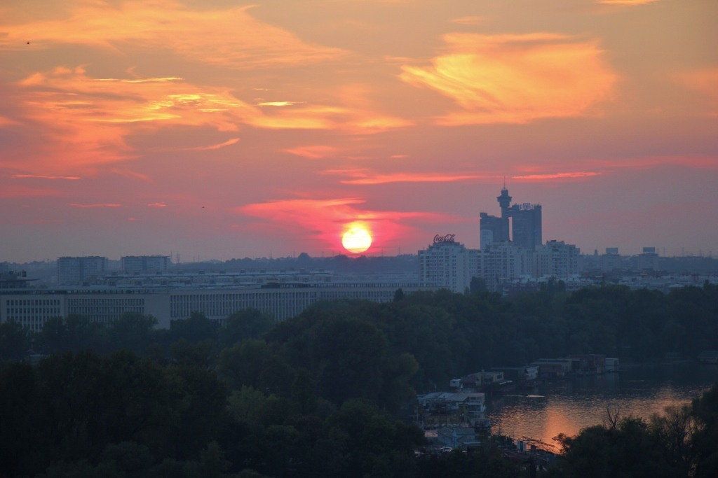 Orange Ball of Fire Sunset over Western City Gate, Belgrade, Serbia