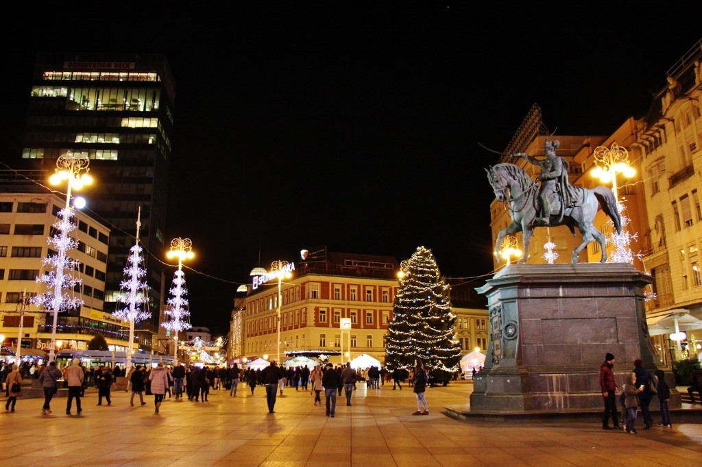 Christmas tree on Ban Jelacic Square during Christmas in Zagreb, Croatia