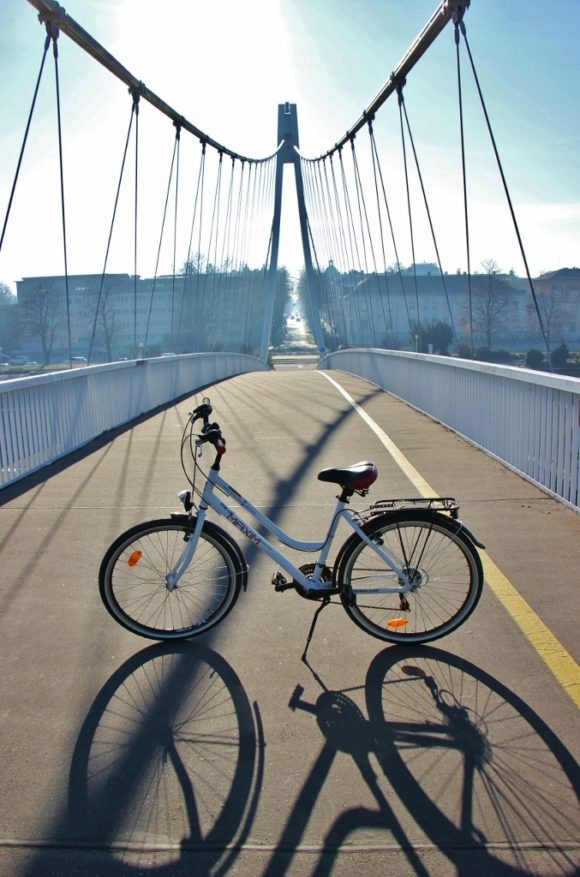 Bike on pedestrian bridge in Osijek, Croatia