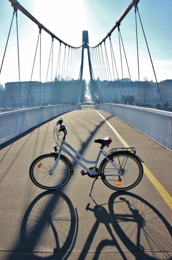 Bike on pedestrian bridge in Osijek, Croatia