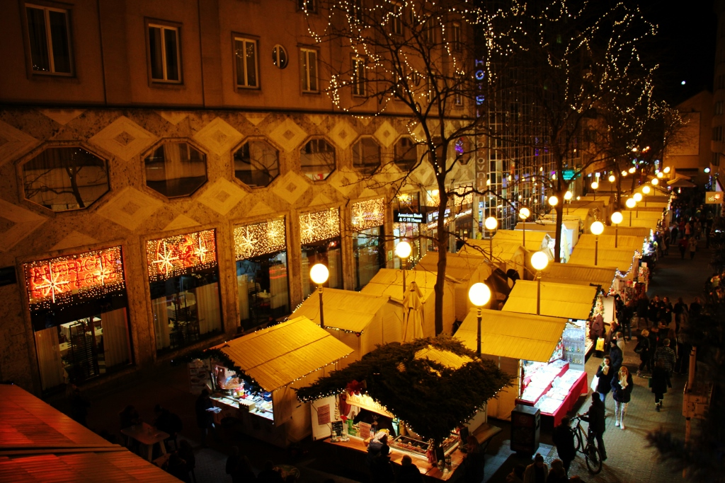 Christmas fair booths line the streets during Advent in Zagreb, Croatia