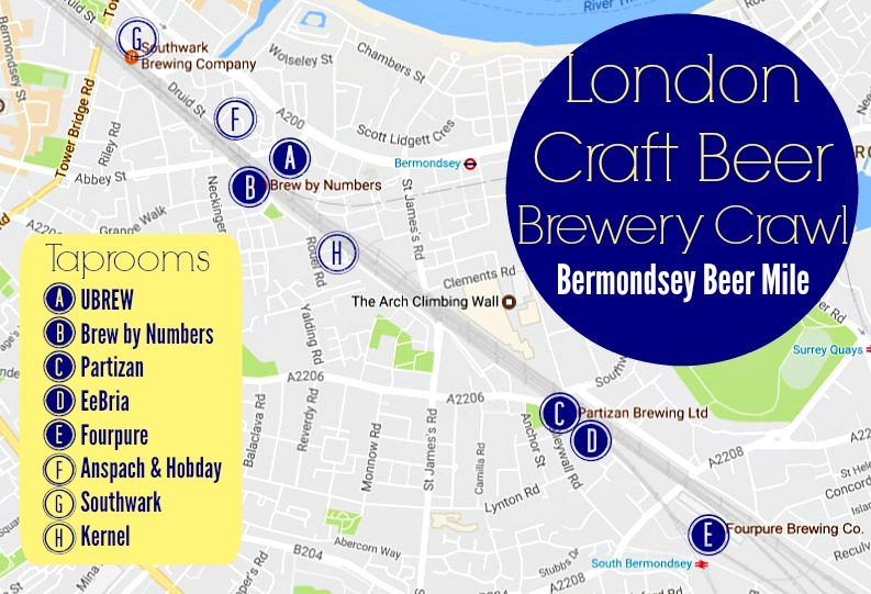 London Craft Beer Crawl Bermondsey Beer Mile Map JetSettingFools.com