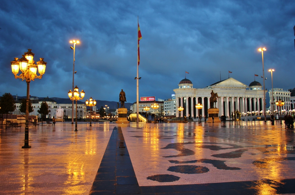 Macedonia Square and Museum of Archaeology at night, Skopje, Macedonia