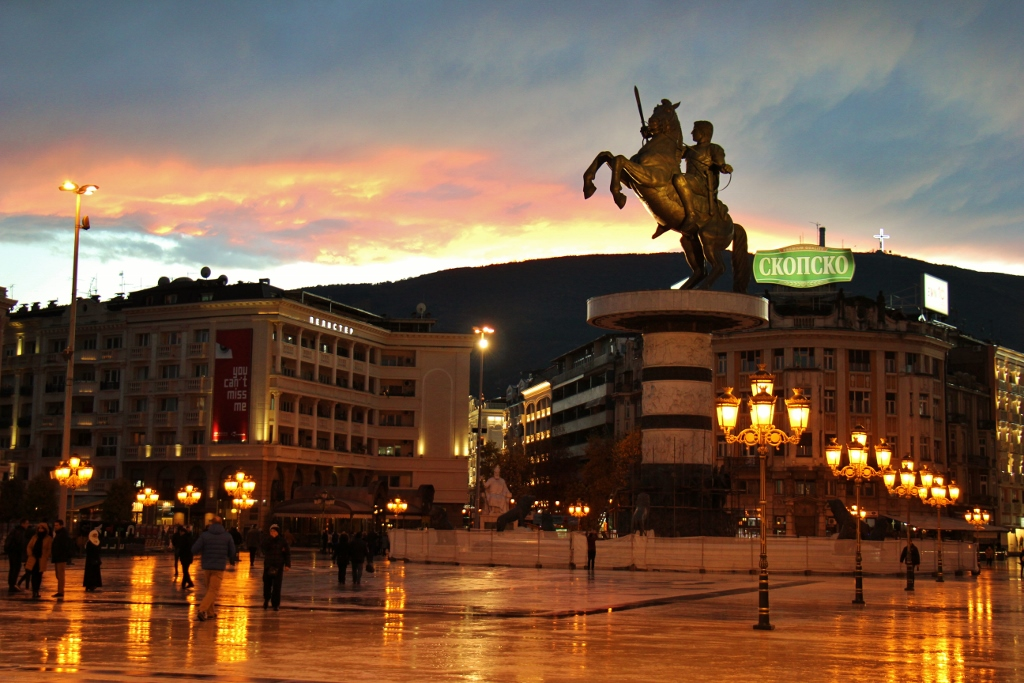 Macedonia Square and Warrior on a Horse Alexander the Great Statue at sunset, Skopje, Macedonia