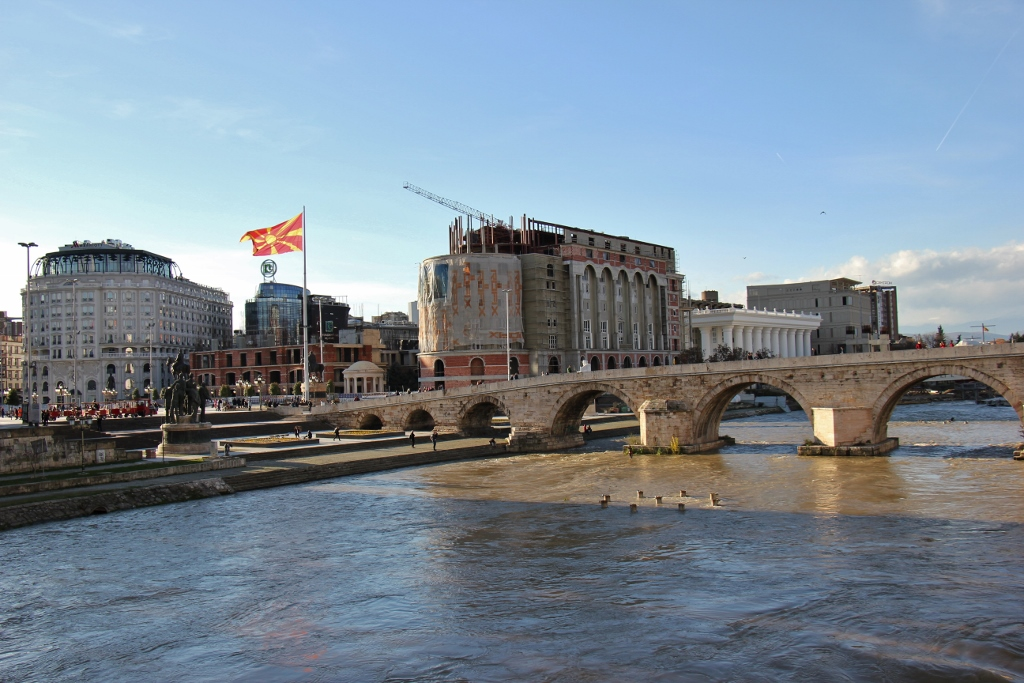 Stone Bridge over Vardar River and construction on Macedonia Square in Skopje, Macedonia