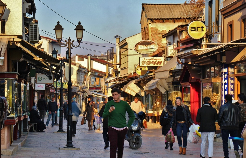 Old Bazaar Street at dusk, Skopje, Macedonia