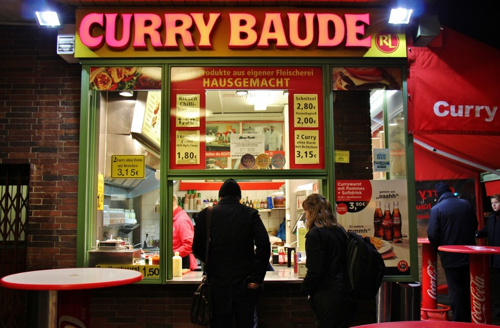 Curry Baude Currywurst restaurant in Berlin, Germany