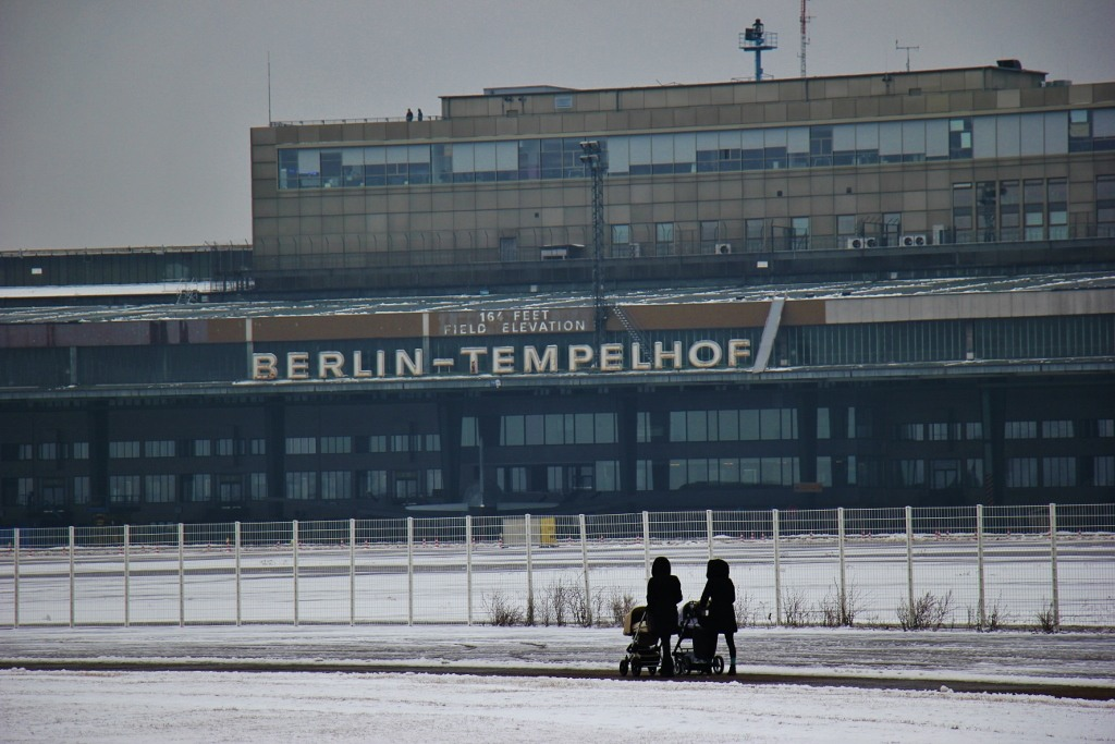 Tempelhof Airport and Tempelhofer Feld Park in in Berlin, Germany