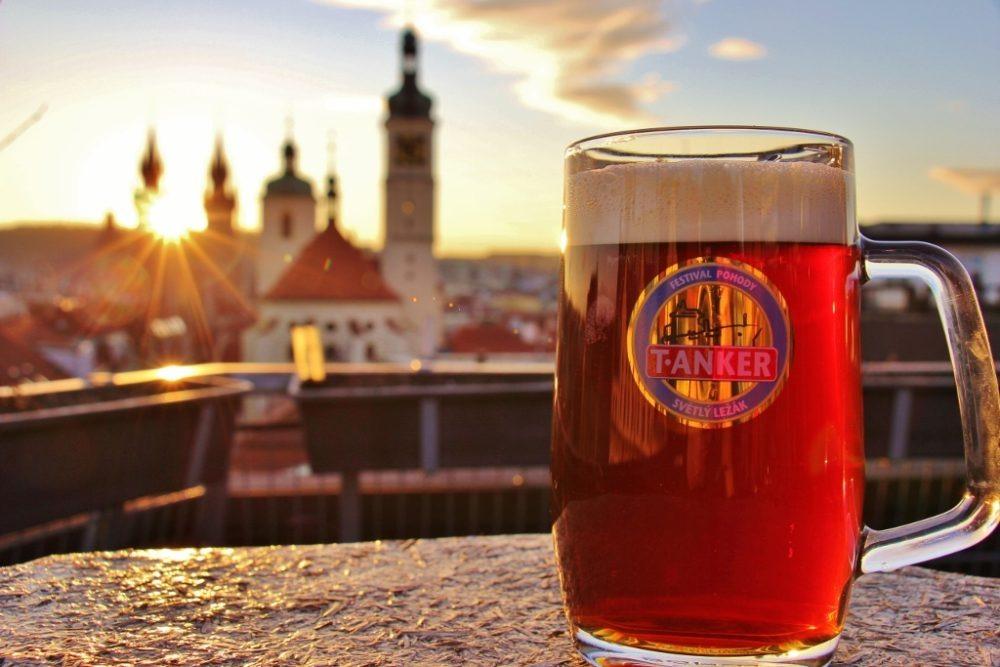 Beer at Sunset on T-Anker Rooftop Bar, Prague, Czech Republic