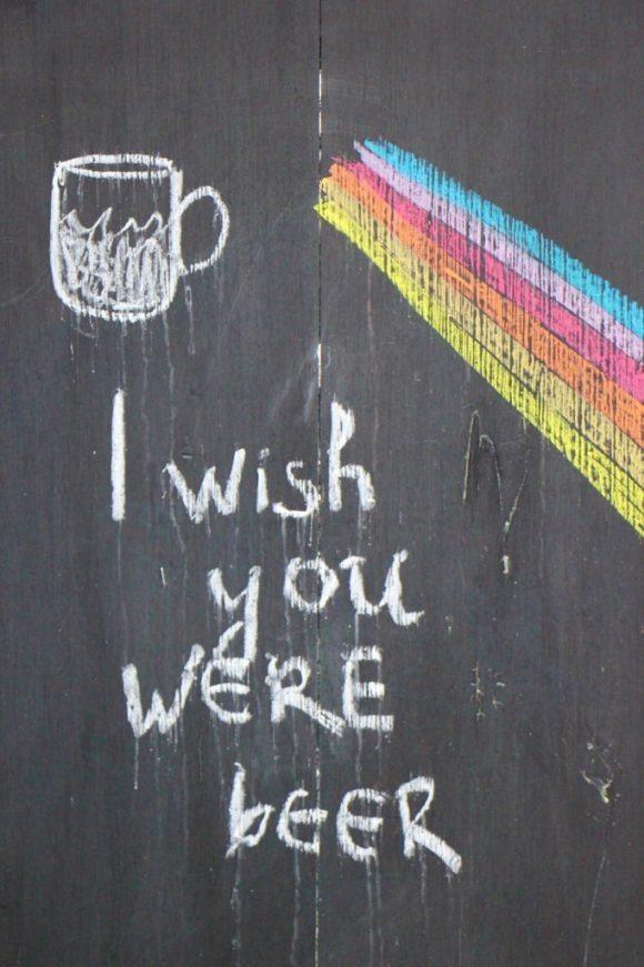 I Wish You Were Beer chalkboard sign, Prague, Czech Republic