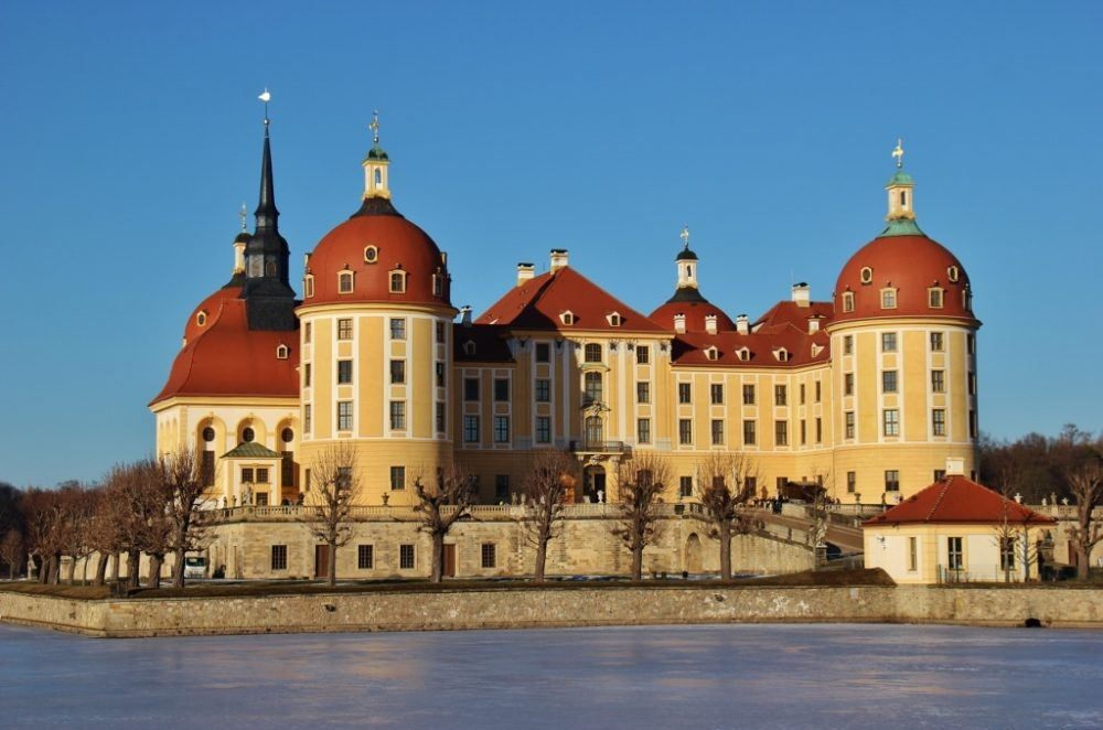 Moritzburg Schloss Castle on lake near Dresden, Germany