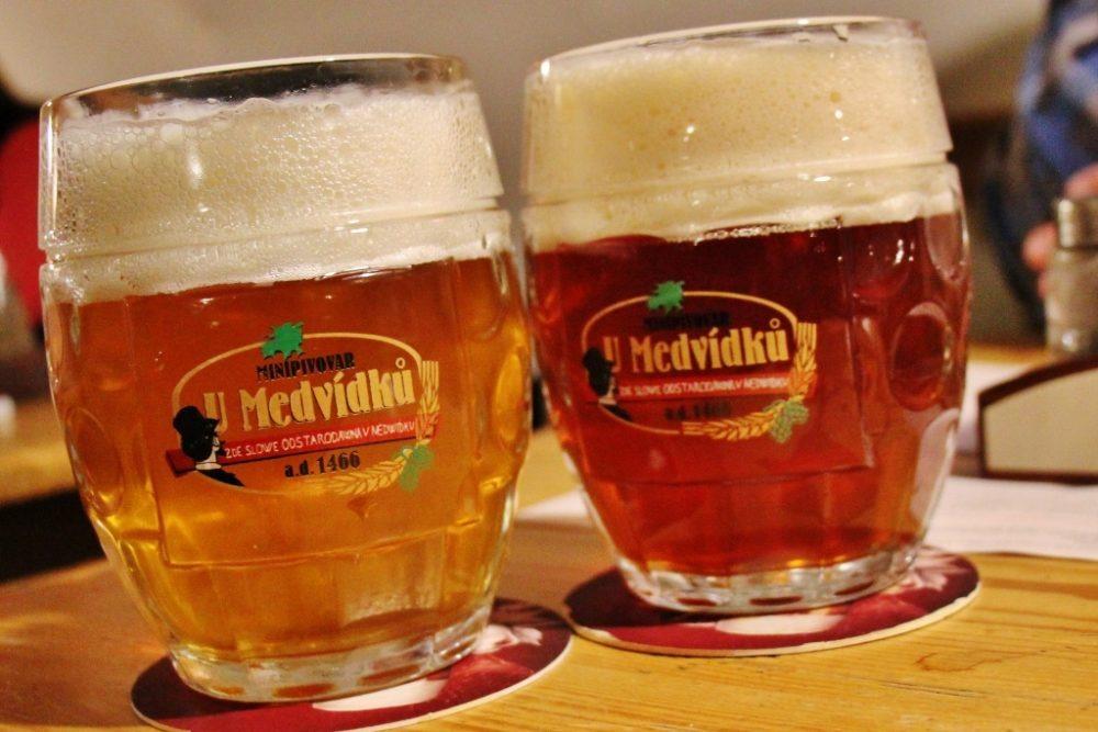 Two mugs of U Medvidku beer, Prague, Czech Republic