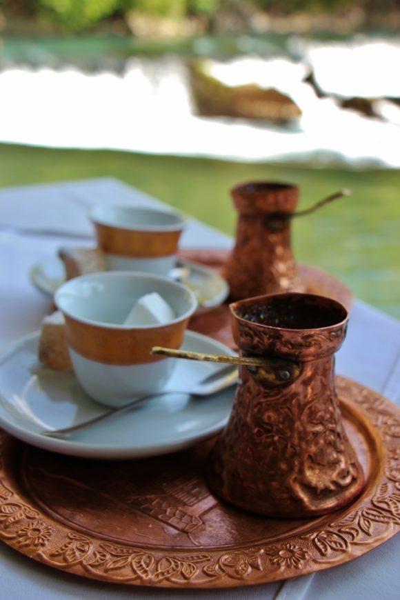 Bosnian coffee set at cafe near Mostar, Bosnia-Herzegovina