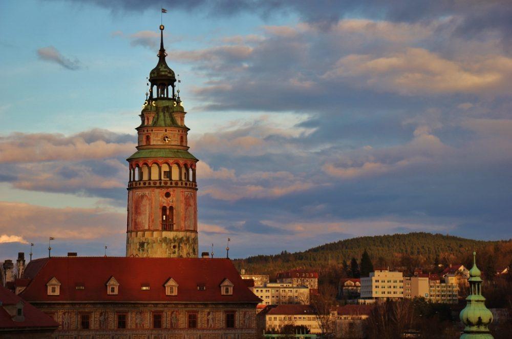 Castle Tower at sunset, Cesky Krumlov, Czech Republic