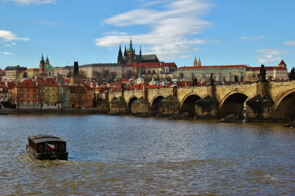 View of Charles Bridge and Prague Castle from Bedrich Smetana Statue Terrace, Prague, Czech Republic, JetSettingFools.com