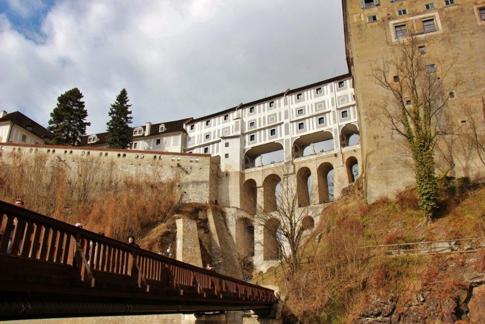 Impressive arches of Cloak Bridge, Krumlov Castle, Cesky Krumlov, Czech Republic