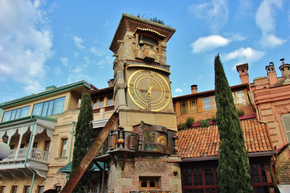 Unusual clock tower at theater on Shavteli Stret in Tbilisi, Georgia