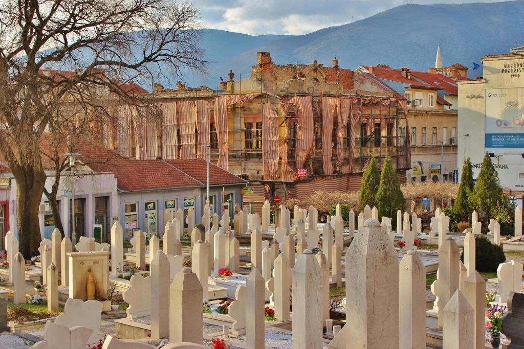 White gravestones at Sehitluk cemetery in Mostar, Bosnia-Herzegovina