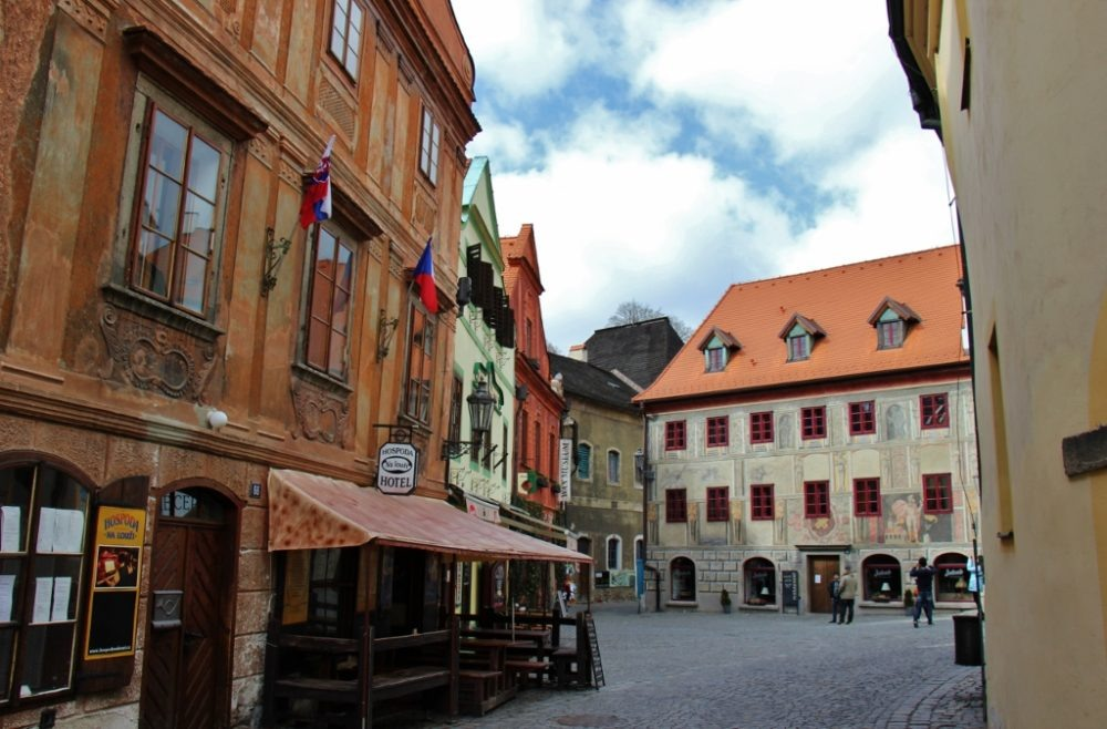 Hotels and shops on Kajovska Street, Old Town, Cesky Krumlov, Czech Republic