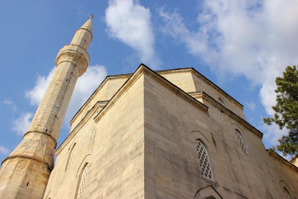 Looking up at the Koski Mehmet-Pasha Mosque in Mostar, Bosnia-Herzegovina