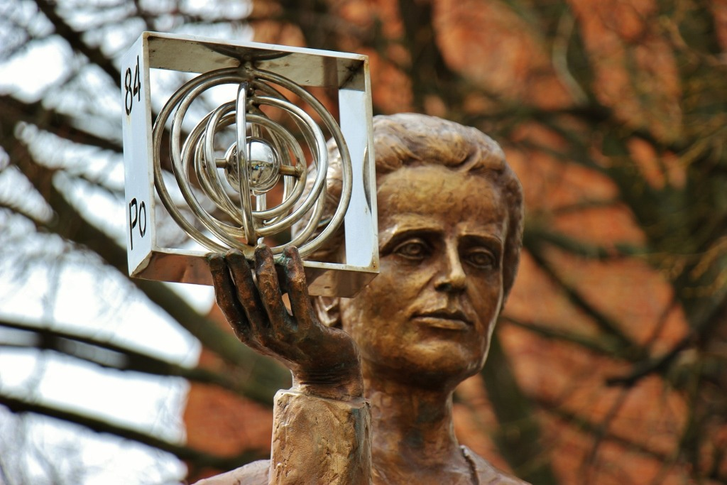 Statue of Maria Sklodowska-Curie holding Polonium in Warsaw, Poland