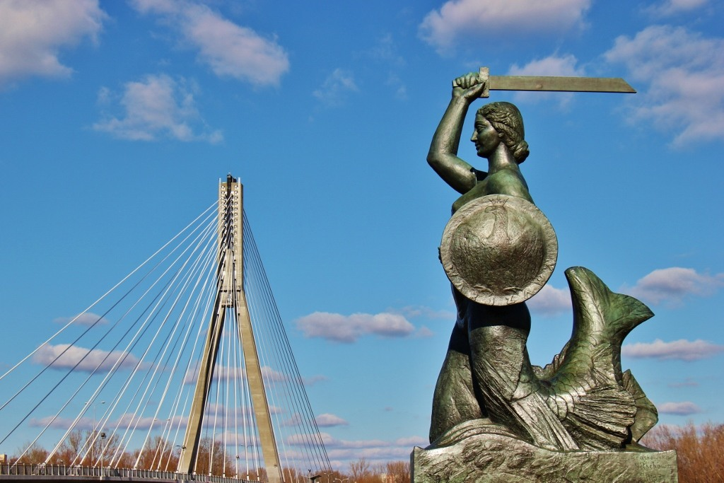The Swietokrzyski Bridge and Mermaid Statue in Warsaw, Poland