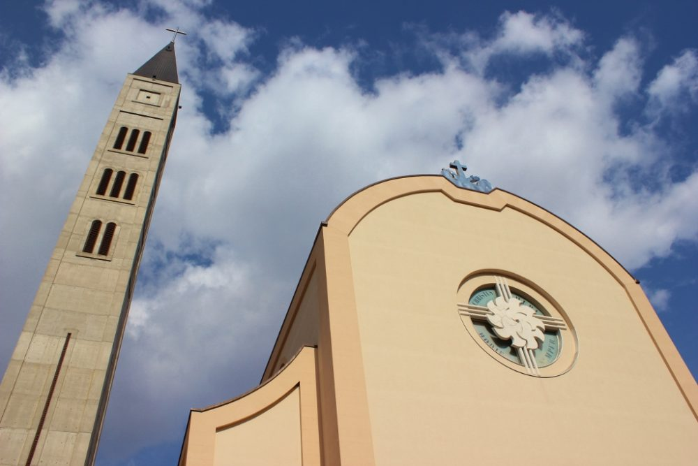 Peace Bell Tower at Catholic Church in Mostar, Bosnia-Herzegovina
