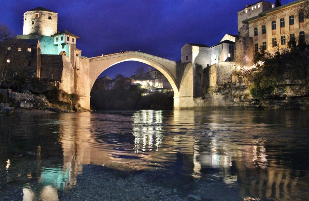 Neretva River and Old Bridge at night in Mostar, Bosnia-Herzegovina