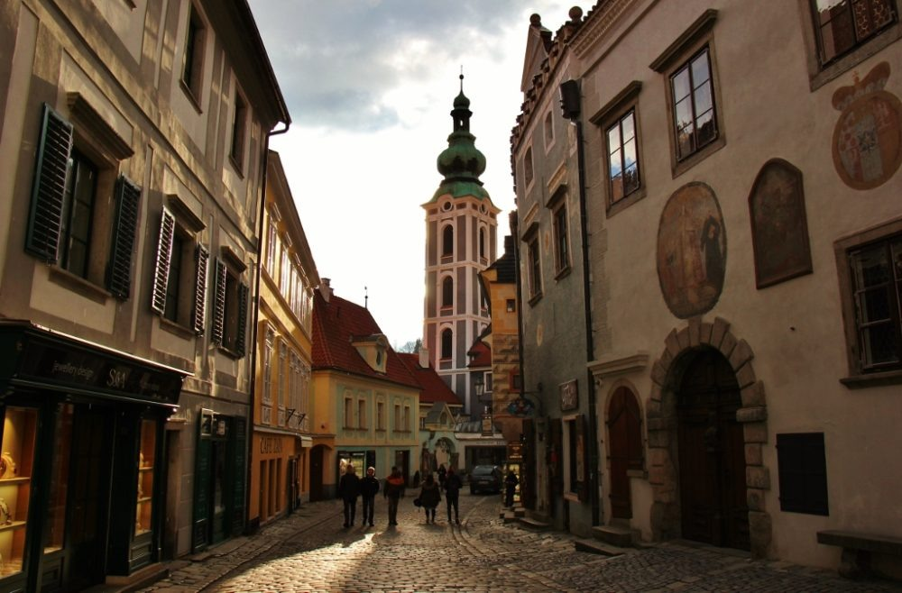 Cobblestone street in Old Town, Cesky Krumlov, Czech Republic