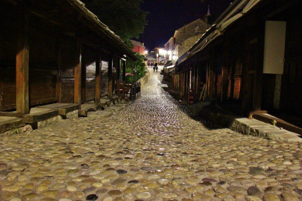 Stone street at night in Old Town Mostar, Bosnia-Herzegovina