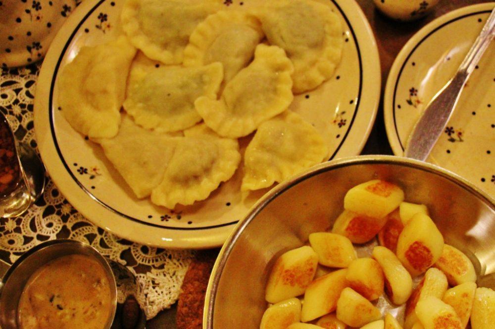 Meal of Pierogies and Potatoe Dumplings in Warsaw, Poland