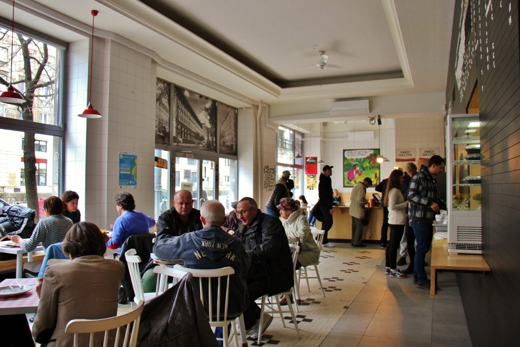 Dining area at Prasowy Milk Bar in Warsaw, Poland
