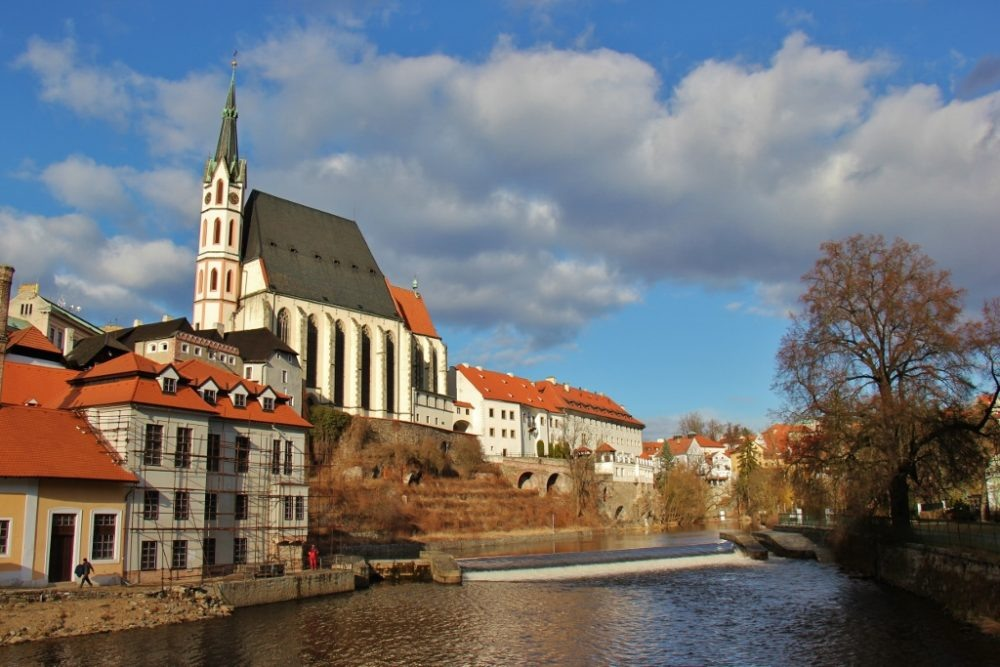 St. Vitus Church on the banks of the Vltava River, Cesky Krumlov, Czech Republic