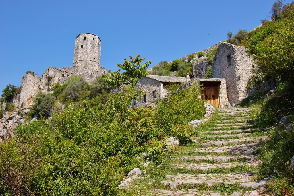 Stone steps leading to tower in Pocitelj near Mostar, Bosnia-Herzegovina